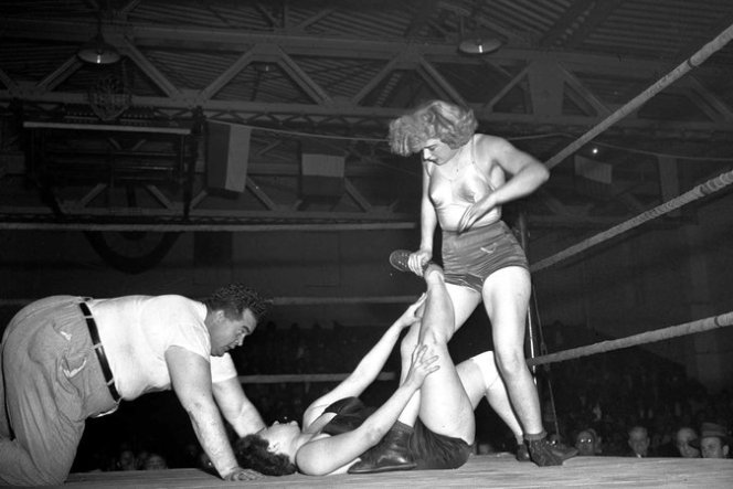 Mae Young, on the right, doing her thing.